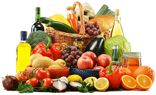 Ein Korb voller Obst und Früchte